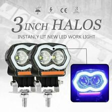 Pair 3 Inch Halo Led Spot Work Light Bar Pods Fog Driving Off road Atv Truck 4Wd