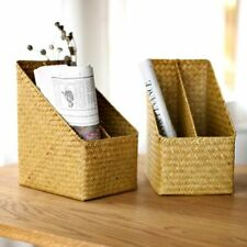 Handmade Stationery Basket Storage Two-Grid Wicker Straw Box Container Organizer