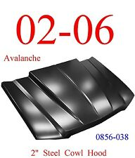 """02 06 Cowl Hood 2"""" Chevy Avalanche Steel Bolt On With Latch, KeyPart 0856-038"""
