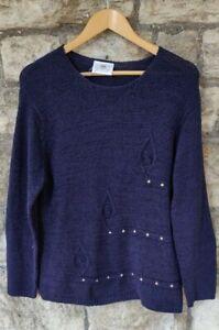 Vintage Retro 00s Nightingales Beaded Knitted Jumper size M UK12