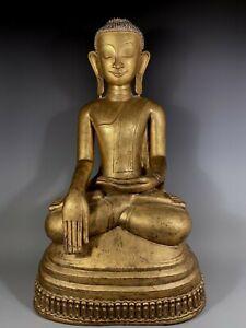 Burma Burmese Gilt Lacquer Shan Statue of the Buddha ca. first Half 19th century