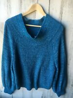 Free People Edessa Off-Shoulder Loose Slouchy Chunky Sweater Blue M