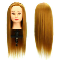 22'' Real Human Hair Salon Hairdressing Training Head Mannequin Practice   A