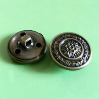 15 Brass Metal Plate Coat Jacket Shank Sew On Buttons 20mm 32L Dark Pewter G198