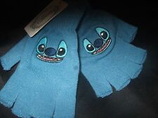 NWT Cute Blue Alien Disney Lilo And Stitch Face Fingerless Knit Gloves