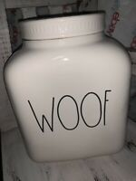 """Rae Dunn by Magenta Large """"WOOF"""" Dog Snacks Treat Jar Canister NEW ~LAST ONE~"""
