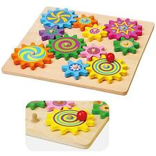 Wooden Spinning Gears & Cogs Baby Play Activity Puzzle Wood Toy Set Gear Wood