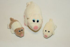 Lot of 3 Vintage Pound Puppies Pigs Mother and 2 Piglets 1997 Galoob Rare