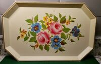 "VINTAGE PASTEL CREAM FLOWERED FOOD TRAY BY NASHCO PRODUCTS NY 16 1/2"" X 10 1/2"""
