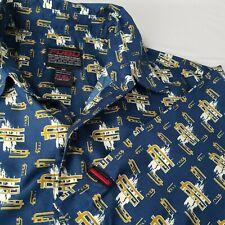 Fubu Mens Size Xl Blue Gold Logo Spellout Short Sleeve Button Up Shirt Hip Hop