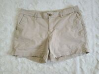 """Womens OLD NAVY Shorts Tan Beige Cotton Chino Stretch size 8 Flat front 5""""inseam"""