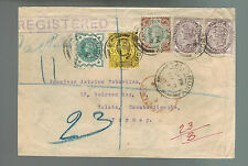 1900 Salisbury England Registered stamp dealer cover to Galata Turkey Cinderella