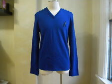 DSQUARED² RUNWAY RARE BLUE WOOL PADED SHOULDER V NECK SWEATER HOCKEY S XXL ITALY