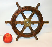 "Vintage Nautical Ship Boat Wheel Wood & Brass12"" Wide Maritime Home Decoration"