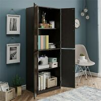 Kitchen Pantry Storage Cabinet Cupboard Organizer Wood Tall Shelves, Black