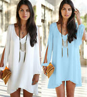 Women Summer Party Chiffon Solid Top Beach Shift Mini Dresses Clothes Plus Size