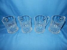 """Set of 4 Cristal D'Arques-Durand Mugs Cups """"CHANTILLY-TAILLE-BEAUGENCY"""" Fan Cut"""