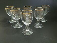 Vintage Rose Etched & Silver Rimmed Crystal Cordial Glasses 4oz. 1965 (Set of 6)