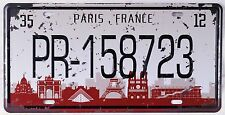 Vintage Metal Tin Sign Paris Embossed Car License Plate Garage Home Wall Plaque