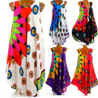 Womens Boho Sleeveless Short Dress Ladies Summer Beach Loose Sundress Long Tops
