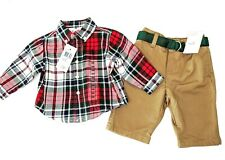 Nuevos CHICOS Ralph Lauren De 3 meses a Cuadros Camisa & Pantalones de color caqui con cinturón traje
