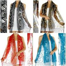 Peacock Feathers Sequin Shawl, Black, Red, Blue,100% Polyester, Formal, Wedding