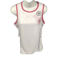 BCG Womens White  Tank Top Size Small Pink & Gray Accents New