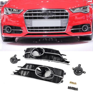 Front Lower Bumper Fog lamp Light Cover Grill & Decor Lens for Audi A6 C7 16-17