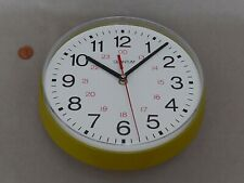 80s GREEN WALL 24 HOUR CLOCK, Vintage GERMAN ROUND PLASTIC Retro KITCHEN BATTERY