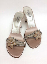 Franco Sarto Beige Satin Leather Slide On Rhinestone Flower Sandals Shoes 7.5 M