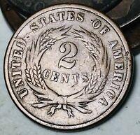 1865 Two Cent Piece 2C DIE CRACK Good Date Civil War Era US Copper Coin CC5914
