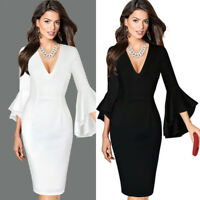 Women Sexy Deep V-neck Flare Bell Long Sleeve Office Party Bodycon Dress P