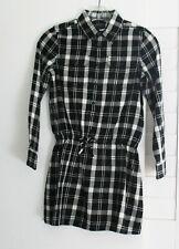 Polo Ralph Lauren Girls Plaid Twill Long Sleeve Shirtdress Black/Cream Sz 8-NWT