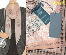 "ALEXANDER MCQUEEN peach DITSY Multi Skull Giant 52"" silk Scarf NWT Authentc $470"