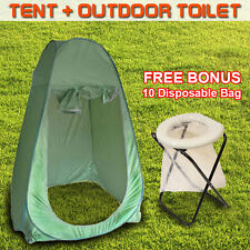 Folding Portable Outdoor Camp Toilet Large Pop Up Tent Privacy Shelter W/ 10 Bag