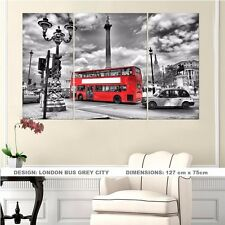 London Bus Grey City - SPLIT FRAMED CANVAS PRINT ! Modern Exclusive Art