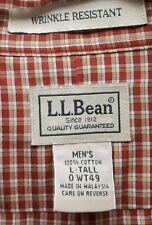 Men's LL Bean Large Tall Lg Red Checks Button Down Shirt LS Pocket Oxford Collar