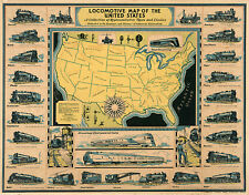 """1920 Pictorial Locomotive 11""""x14"""" Map of the United States Railroad Wall Art"""