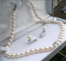 "Charming! 9-10mm White Akoya Pearl Necklace 18"" + Earring"