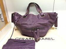 Sac Gerard Darel Cabas Tote Flower bag En Cuir Violet Parme TBE
