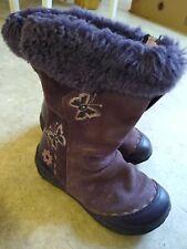 Girls Clarks 7 F Purple Glitter Fur Trimmed Boots Butterfly