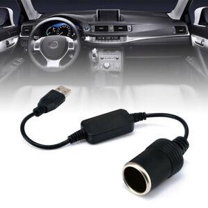Car Cigarette Lighter Socket USB 5V To 12V Converter Adapter Plug Connector New