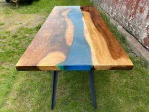 Blue Transparent Epoxy Table, Resin Dining Table Table Edge Decors Made To Order