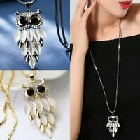 Women Crystal Owl Pendant Necklace Fur Rhinestone Long Chain Sweater Tassel Gift