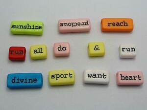 50 Assorted Acrylic Inspirational Word Beads Mixed Color Jewelry Craft DIY