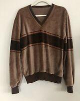 Vintage 70s Brown Stripe Vneck Velour Pullover Mens Size M