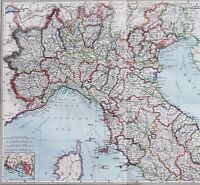 1907 Northern Italy Map Steamship Routes Railroads Telegraph Cables ORIGINAL