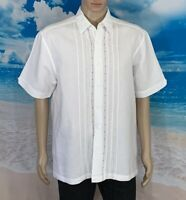 Cubavera Size L Men's Shirt Short Sleeve Button Down Hawaiian Linen/Rayon