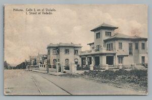 L Street at Vedado HAVANA Habana Cuba—Rare Antique PC Tarjeta—Jordi 1925