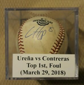 2018 Chicago Cubs Game Used Opening Day Baseball Signed IAN HAPP FOUL CONTRERAS